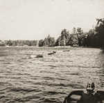 From dock--motorboat, rowboats, Pinecone area, Carry Beach (1965)